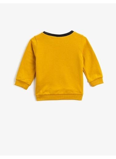 Koton Pamuklu Baskili Bisiklet Yaka Uzun Kollu Sweatshirt Sarı